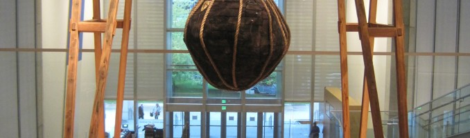 """Return to Me – reclaimed lumber, rope, gold leaf, charred and painted surfaces – 106.5 x 75.5 x 60.5"""""""