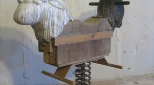 There Are Times – reclaimed lumber, ceramic, steel coil spring, latex house paint and beeswax – 43 x 46 x 20″