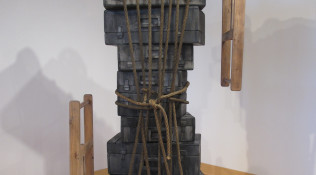 It's Complicated They Say – reclaimed lumber, latex house paint, india ink, beeswax and rope – 98 x 58 x21″